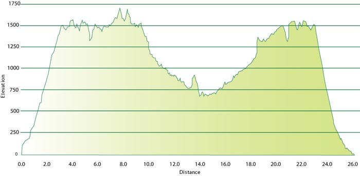 Elevation chart for the Catalina Eco Marathon